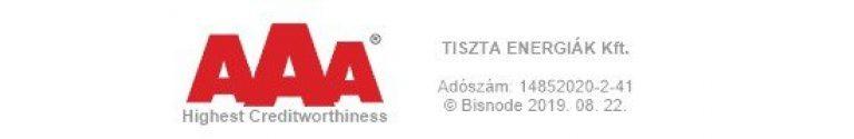 AAA Certificate Tiszta Energiak Sz 768x125, Tiszta Energiák Kft.